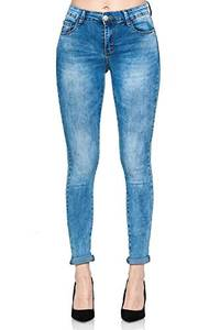 Elara Damen Stretch Hose Push Up Jeans Gummizug Chunkyrayan YA1061 Blue 36 (S)
