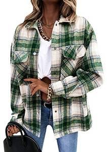 OMZIN Kariertes Damen Hemdjacke Taschen Knöpfen Oversize Bluse Holzfällerjacke Mode Boyfreind Langarm Mit Brusttaschen Hemdbluse Grün L