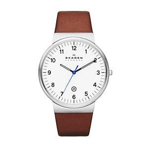 Skagen Herren Analog Quarz Uhr mit Leder Armband SKW6082