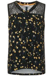 Street One Damen Top mit Spitze und Blumen in Schwarz