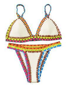 sitengle Damen Bikini-Sets Handgestrickte Badeanzüge Crochet Neopren Bademode Push up Neon Neopren Farbe Spleiß Bikinis Sport Strandmode Badeanzüge Schwimmanzug Marine Bathing Suit 2016