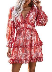 GOSOPIN Damen Kleid Rückenfrei elegant Freizeitkleid Tiefer V-Ausschnitt Dating-Kleid Minikleid mit Spitzennähte Abendkleider für Hochzeit, Party, Cocktail Red M