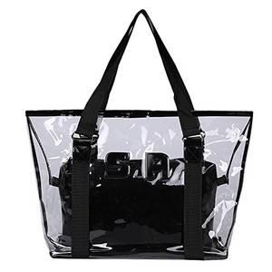 Artone Wasserabweisend Transparent Tragetasche Strandtasche Schultertaschen Handtasche Mit Bikini Badeanzug Tasche 2 in 1 Schwarz