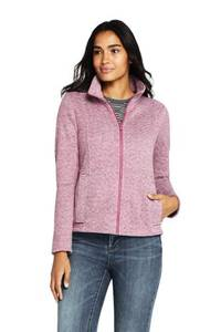 Strickfleece-Jacke, Damen, Größe: L Normal, Braun, by Lands'' End, Ocker Tonerde Herringbone
