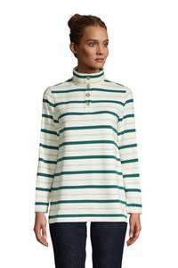 Sweatshirt mit Knopfkragen in Petite-Größe, Damen, Größe: XS Petite, Rot, Cord, by Lands'' End, Satt Burgund Multi Gestreift