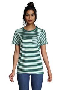 Gestreiftes Shirt aus Baumwoll/Modal mit Brusttasche und kurzen Ärmeln, Damen, Größe: XS Normal, Grün, by Lands'' End, Jade Smaragd Gestreift