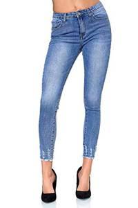 Elara Damen Jeans Chunkyrayan EL01D2 Blau-40 (L)