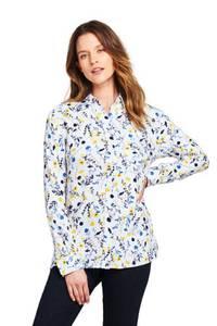 Gemusterte Bluse aus gebürstetem Viskosemix, Damen, Größe: S Normal, Weiß, by Lands'' End, Weiß Streublumen