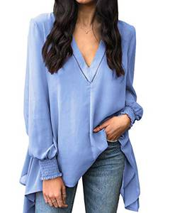 Style Dome Damen Bluse Lange Laterne Ärmel Tunika Shirt Elegant Loose Longshirt Blau-D69307 L