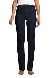 Shaping Jeans, Straight Fit High Waist, Damen, Größe: 34 30 Normal, Blau, Denim, by Lands'' End, Tiefes Indigo