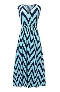 Très Chic Mailanda Sommerkleid Damen Partykleid Lang Chiffon High Waist Striped Sleeveless Beach Kleid Elegant (Medium, Blau-schwarz)