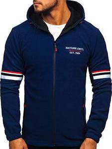 BOLF Herren Fleece Jacke Sweatjacke Fleecepullover Fleeceshirt Sportpullover Kapuzenpullover Hoodie Fleece Jacket Outdoor J.Style YL001 Dunkelblau M [1A1]