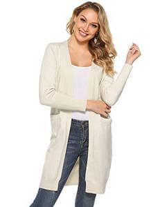 Abollria Damen Langarm Strickjacke Offener Cardigan Lang Casual Unifarbe Longjacke mit Seitentaschen für Herbst Winter,Beige,L