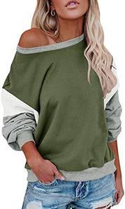 Damen Lose Fledermausärmel Sweatshirt Farbblock Pullover Oberteile Frauen Freizeit Rundhals T-Shirt Bluse (Olivgrün, M)