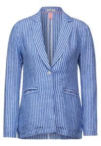 CECIL Damen Leinen Blazer mit Streifen in Blau,Weiß