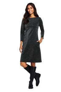 Glitzerndes Ponté-Kleid mit 3/4-Ärmeln, Damen, Größe: XS Normal, Schwarz, Elasthan, by Lands'' End, Schwarz Glitzer