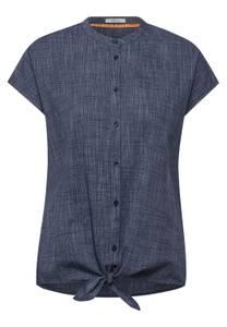 Blouse met knoopdetail - dark blue melange