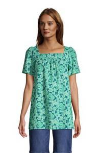 Bluse aus Baumwolle/Viskose mit Carré-Ausschnitt, Damen, Größe: XS Normal, Grün, by Lands'' End, Erdgrün Pünktchen Floral
