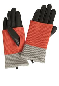 Cartoon Handschuhe mit Strickdetails hellrot / grau