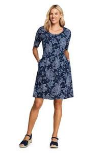 Geblümtes Jerseykleid mit halblangen Ärmeln in Petite-Größe, Damen, Größe: S Petite, Blau, by Lands'' End, Tiefsee Paisley Floral