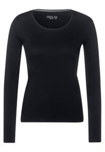 CECIL Damen Basic Langarmshirt in Schwarz