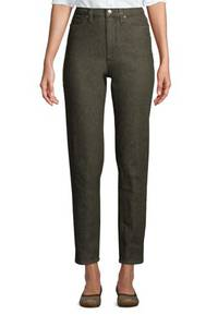 Farbige Straight Fit Jeans High Waist in Petite-Größe, Damen, Größe: XS Petite, Grün, Elasthan, by Lands'' End, Washed Moos