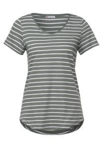 T-shirt met gestreept patroon - shadow green