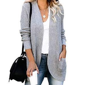 Damen-Strickjacke, Grobstrick, einfarbig, lange Ärmel, abgerundeter Saum, Pullover, Manteltaschen