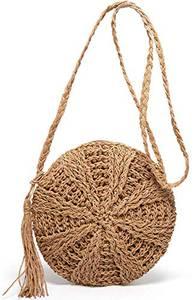 Stroh Crossbody Tasche Frauen Weben Umhängetasche Runde Sommer Strand Geldbörse und Handtaschen (Braun)