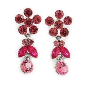 Hängeohrringe mit zartem rosa Kristall, Blume und Schmetterling, Rhodium-Plattierung–35mm L