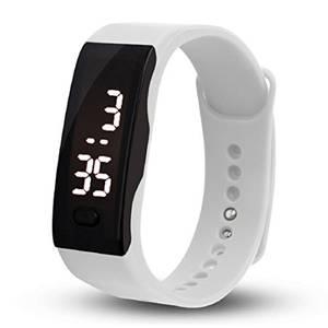 OverDose Damen Herren Gummi LED Uhr Datum Sports Armband Digital Armbanduhr (Weiß)