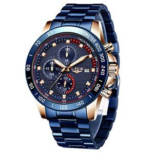 LIGE Herren Uhren Wasserdichter Sport Chronograph Analoge Quarzuhr Edelstahl Business Armband Armbanduhr Blau Herrenuhr