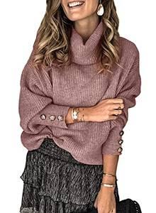 FIYOTE Damen Pullover Warm Strickpullover Rollkragen Streifenpullover Farbblock Sweatshirt Pullover Strick,3-rosa,M