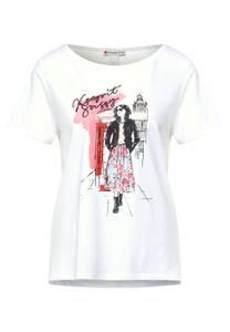 Street One Damen T-Shirt mit Partprint in Weiß