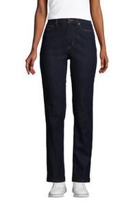 Straight Fit Öko Jeans High Waist, Damen, Größe: 34 30 Normal, Blau, Elasthan, by Lands'' End, Tiefes Indigo