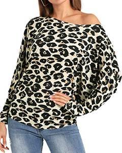 YOINS Sexy Oberteil Damen Schulterfrei Schulter Tshirt Kurzarm Langarm Pullover Sexy Leopard Frühling und Sommer T-Shirt Tops Oberteile Blusen Leopard-04 L