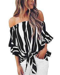ZANZEA Damen Schulterfrei Kurzarm Blusen Asymmetrisch T-Shirt Oversize Lose Gestreift Tops W-schwarz Large
