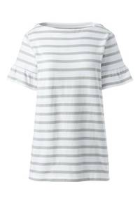Gestreiftes Shirt mit Volantärmeln, Damen, Größe: XS Normal, Pink, Baumwolle, by Lands'' End, Schlichtes Pink Gestreift