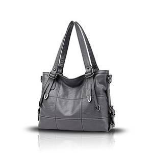 Tisdaini® Damenhandtaschen Mode Hohe Kapazität Geschäft Schultertaschen Freizeit weich Leder Shopper Umhängetaschen Grau